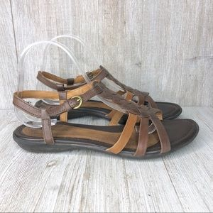 Hush Puppies Braided Brown Leather Strappy Sandals